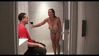 MILF first anal session in the bathroom